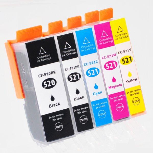 Druckerpatrone Multipack Kompatibel zu Canon PGI-520BK/ CLI-521C/ -M/ -Y/ -BK schwarz, cyan, magenta, gelb