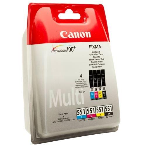 Druckerpatrone Multipack Original Canon CLI-551(6509 B 009) cyan, magenta, gelb, foto-schwarz
