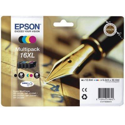 Druckerpatrone Multipack Original Epson 16XL, T1636, C13T16364010 schwarz, cyan, magenta, gelb