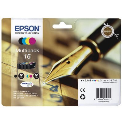 Druckerpatrone Multipack Original Epson 16, T1626 C13T16264010 schwarz, cyan, magenta, gelb