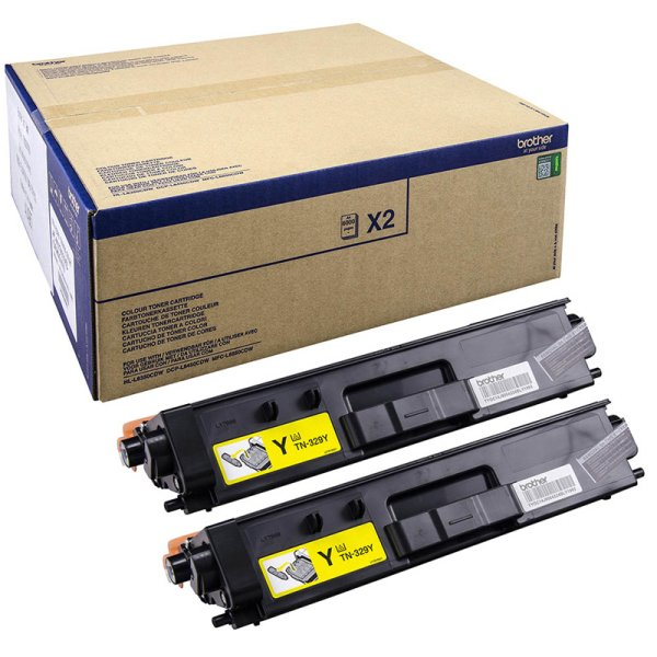 Toner Doppelpack Original Brother TN-329 Y TWIN gelb
